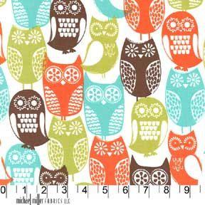 1 yard Swedish owls in Brown  Michael Miller by FabricArtShop