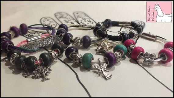 Charm Bracelet with wooden beads by HouseHenPolska on Etsy