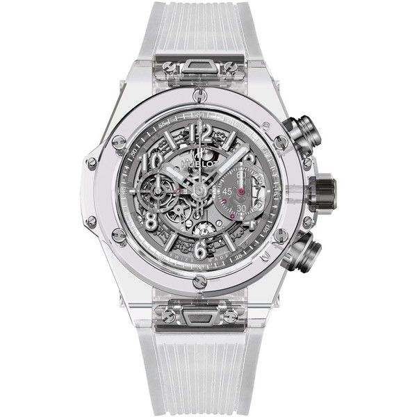 Hublot Big Bang Unico Sapphire Watch (1.403.853.940 VND) ❤ liked on Polyvore featuring jewelry, watches, sapphire watches, sapphire jewelry, see through watches, hublot and sapphire jewellery