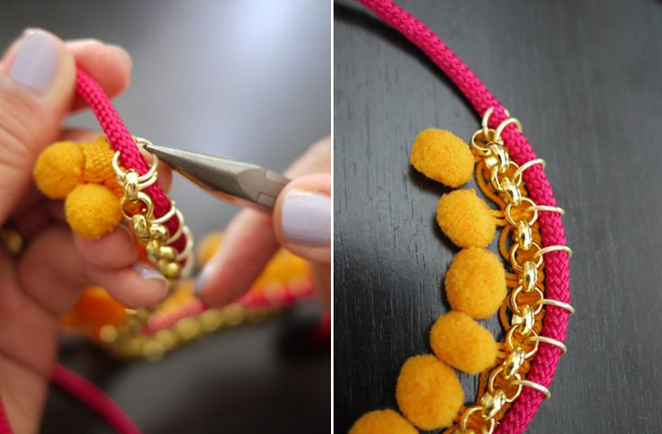 DIY pompom necklaceCollars, Collars Borlas3, Pom Pom Necklaces, Pompom Necklaces, Chains Necklaces, Collars Con, Ball Fringes, Fringes Necklaces, Crafts