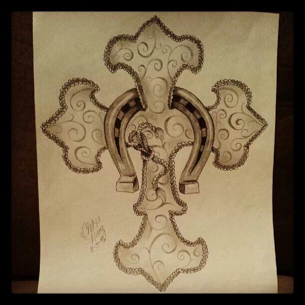 rope cross with a horseshoe tattoo drawing by chelsie haeg