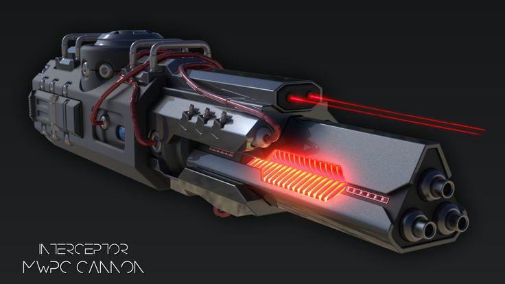 Interceptor Cannon - P9000, Laurentiu Nedelca on ArtStation at https://www.artstation.com/artwork/JWKra