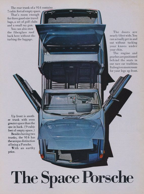 1972 Porsche 914 Car Ad  Vintage Sports Car by AdVintageCom
