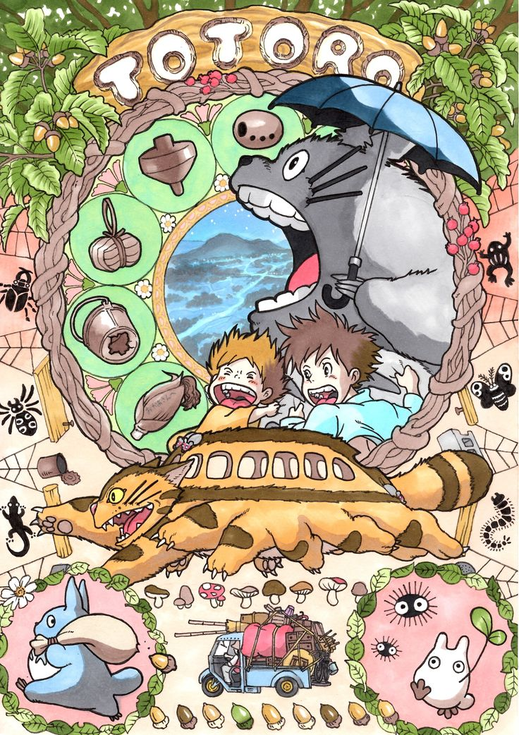 Poster-style art of Studio Ghibli films by artist TAKUMI™ | original source…