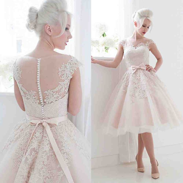 56 best tea length wedding dresses images on pinterest for Cheap wedding dresses tea length