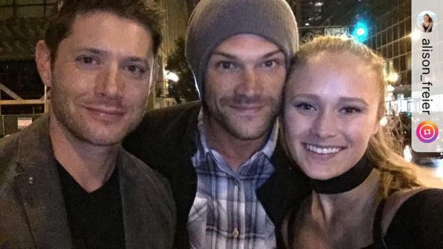 """@jensenackles and @jaredpadalecki with a fan in Chicago credit @alison_freier Caption """"My dreams have finally come true #supernatural"""" #jensen #jensenackles #ackles #ackleholics #acklesholic #acklesholic #spn #SPN12 #spnfan #spnfans #spnfamily #spnfandom #supernatural #supernaturalfamily"""