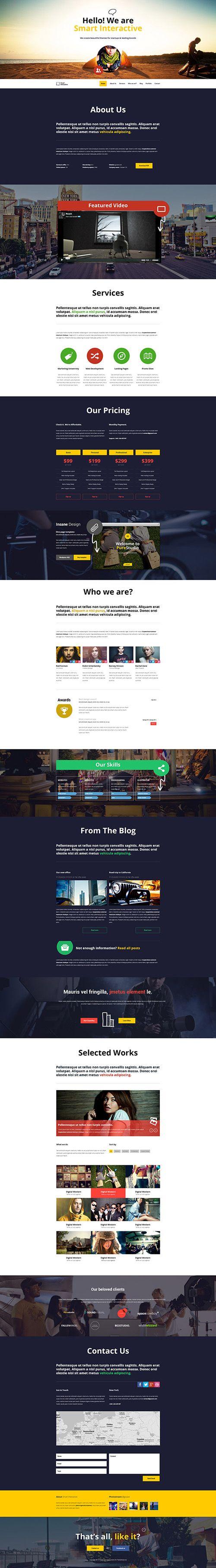 Smart Interactive HTML5 one page creative parallax #wordpressthemes #responsivedesign #flatdesign