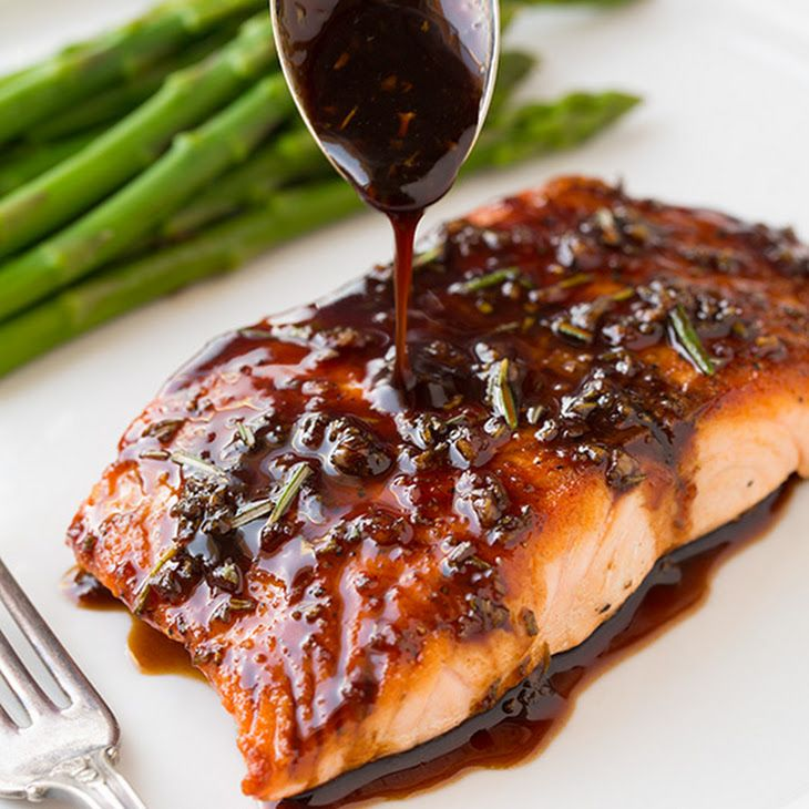 Balsamic Glazed Salmon Recipe Main Dishes with balsamic vinegar, white wine, honey, dijon mustard, fresh rosemary, garlic, salmon fillets, ground black pepper, salt, canola oil