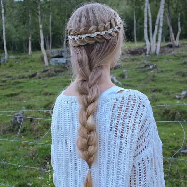 half up 5 strand with braid
