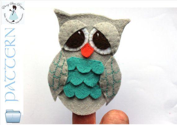 Felt Owl Finger Puppet Pattern. INSTANT by EbonyShaeDesigns