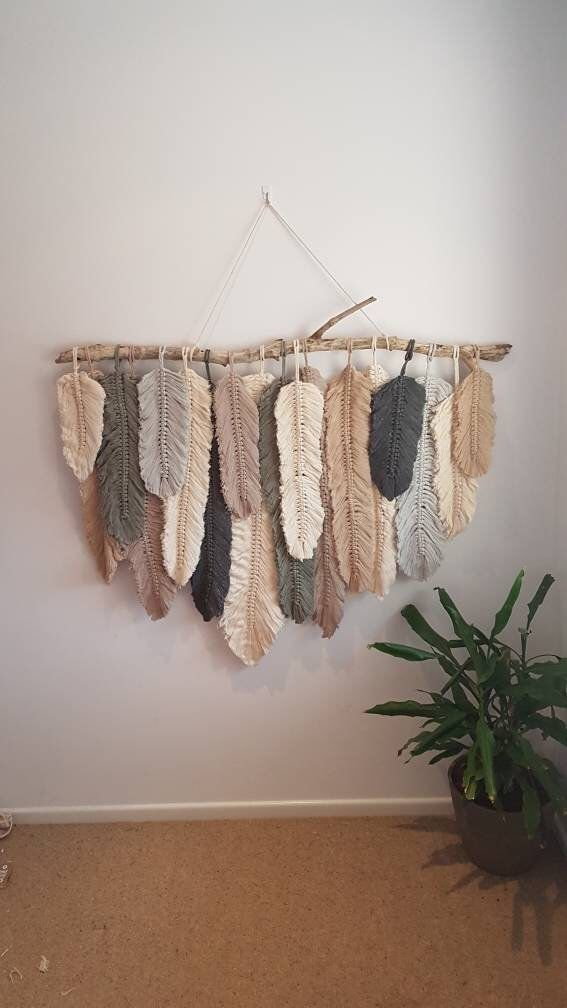 Feather Wall Macrame Hanging Bastelideen Diy Wandbehang