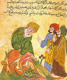 Manuscrito árabe ilustrado del siglo XIII. La representación de figuras solo se consiente en algunas interpretaciones del islamismo, pero se prohíbe mayoritariamente. Esta prohibición incentivó otras artes, como la caligrafía.