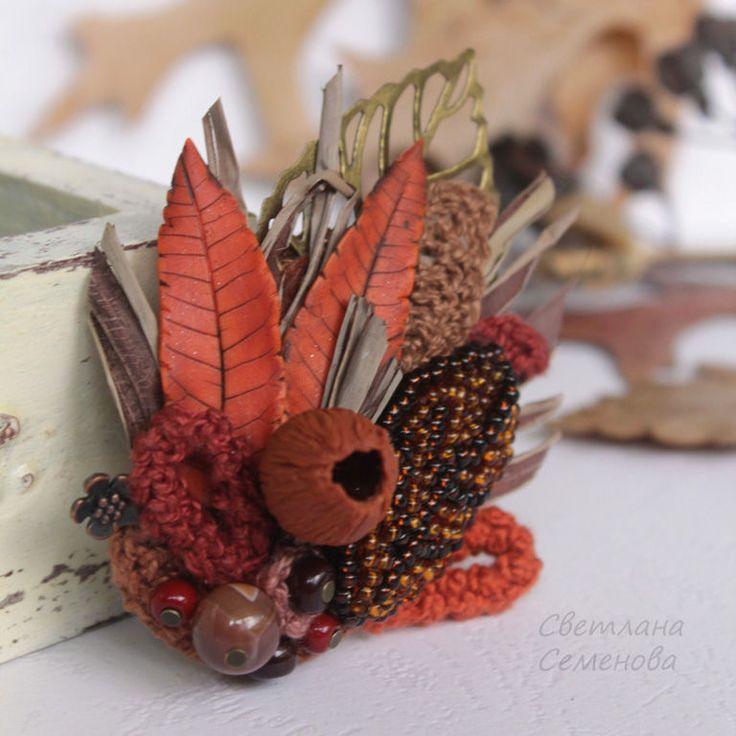 Купить Брошь Букет Рыжая Осень - коричневый, семенова светлана, брошь авторская…