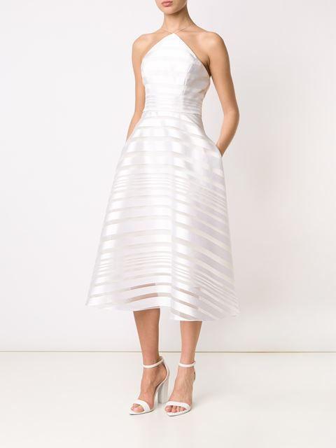 Christian Siriano striped halter-neck dress