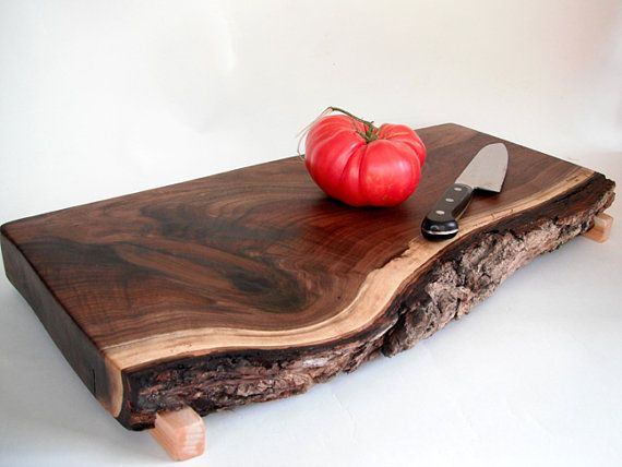 harvest time with a live edged black walnut cutting board