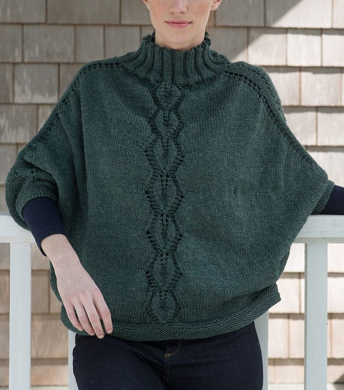 """Free Knitting Pattern for Kombu Poncho - Pullover poncho with easy dolman-style sleeves, funnel neck, and leaf lace panel. Sizes 40 (44, 48, 52, 56, 60)"""" at lower edge. Worsted weight yarn. Designed by Berroco Design Team"""