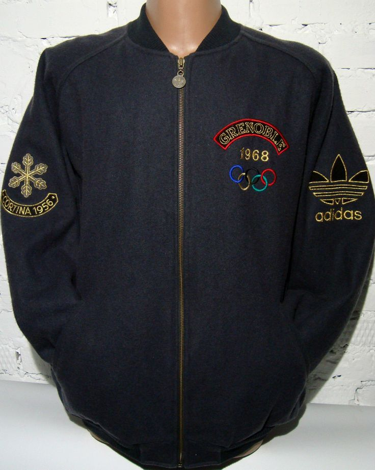 """Men's authentic """"Adidas""""""""Olympiques Jeux D'Hiver Cortina 1956 and Grenoble 1968"""" Olympics Olympic Winter Games wool coat / jacket. This coat would be great for the Olympic Games enthusiast or collector from the 1956 Winter Olympics in Cortina, Italy or the 1968 Winter Olympics in Grenoble, France. 