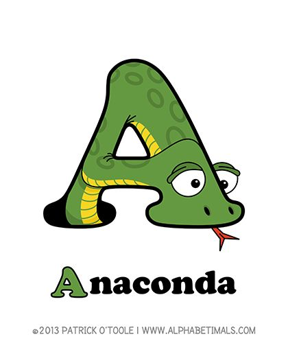 Anaconda - Alphabetimals make learning the ABC's easier and more fun! http://www.alphabetimals.com