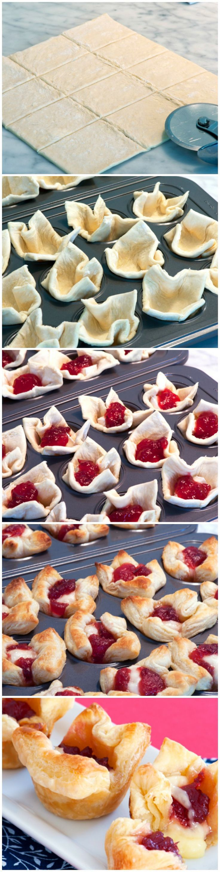 """Cranberry Brie Bites. 3/4"""" cubes of brie, 2 tsp of cranberry sauce. Bake at 375° for 10 min."""