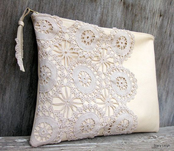 Leather and Lace Clutch Bag in Cream with Vintage Lace