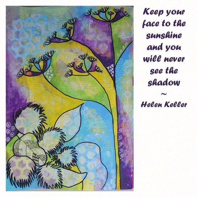 #mixed_media #art of #fennel and #burdock in a #whimsical style on a card with #inspirational #quote