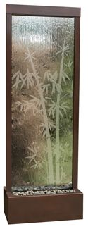 """Floor Fountain """"Gardenfall Bamboo"""" -- Small - 48"""" x 18"""" x 12"""" ($450); Medium - 72"""" x 24"""" x 15"""" ($995); Large - 90"""" x 32"""" x 18"""" ($1395) -- Dark Copper & Bamboo Etched Glass; includes: Submersible Pump/inline filter; Adjustable Flow; Polished River Rock; Single Light"""