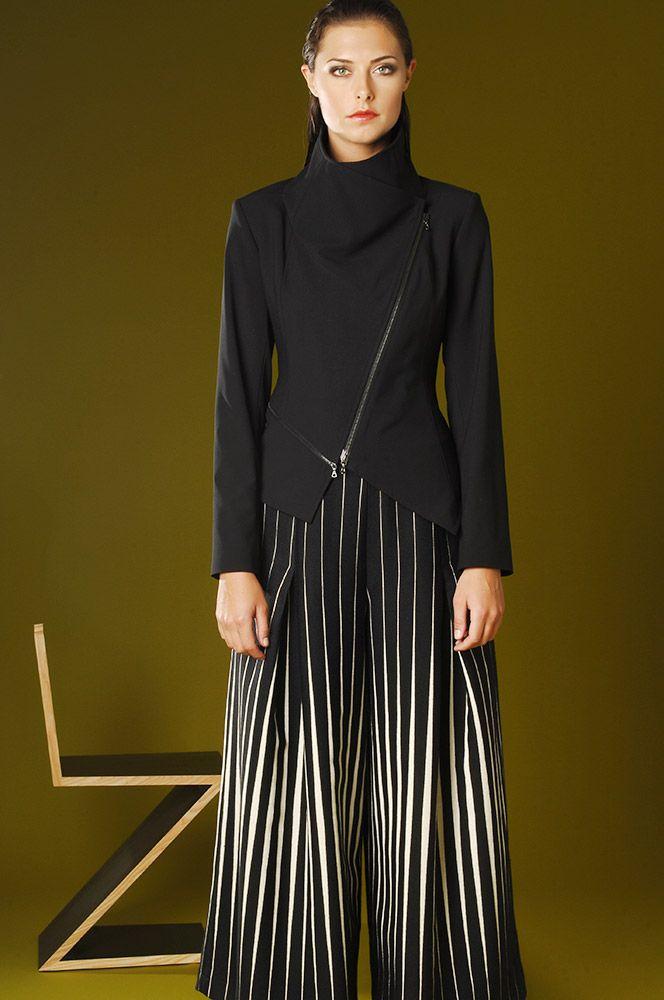 5366 New York Zip Jacket, 5345 Italian Wool Black/Ivory Stripe Pant