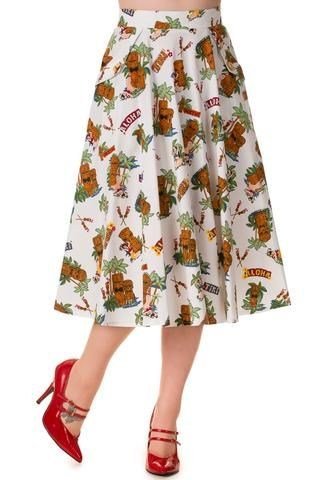 his summery skirt is perfect for the beach or if you want to spice up your day when your doing boring chores AKA grocery shopping…   #badbettycouture #summerwardrobe #shopping #onlineshopping #pinup #retro #50s #pinupgirl #pinupaustralia #bannedapparel #bannedappareltikiskirt #swingskirt #tikiprint