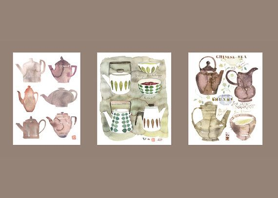Set of 3 tea posters  Neutral colors  Watercolor  Chinese and scandinavian teapots