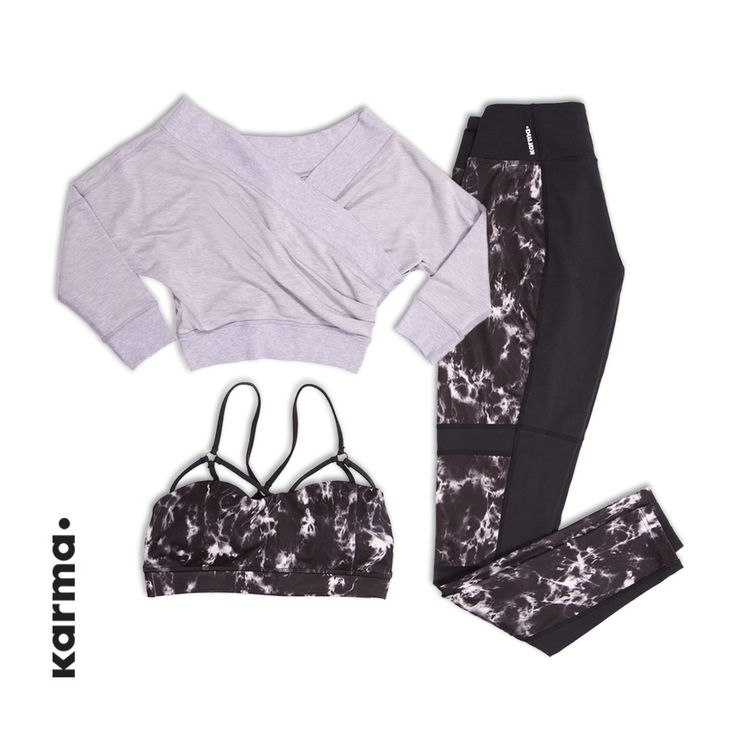 Shown here is the Margot Pullover. Get it here: http://karmaathletics.com/products/margot-cover-up?lssrc=recentviews&variant=6136748356 As well as the Printed Kalani Bra. Get it here: http://karmaathletics.com/collections/all/products/printed-kalani-bra?variant=4729083012 And our Adeline Tight. Get them here: http://karmaathletics.com/products/adeline-tight?variant=4728707844