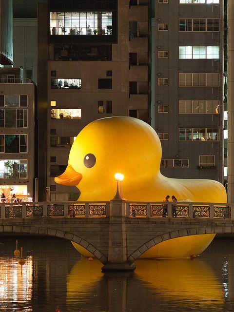 Huge rubber duck at Aqua metropolis in Osaka, Japan 2012