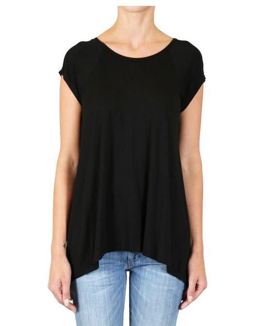 0de1e989d9f BLACK ORCHID S/S High Low Draped Solid Raglan Tunic Tee Shirt Top Black S  $75 #BlackOrchid #Tunic #Casual