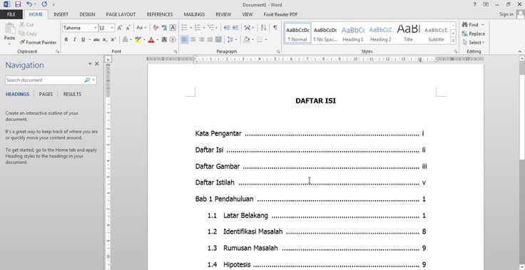 Salah satu tahap yang bisa dibilang merepotkan dalam proses penyusunan karya tulis adalah penulisan daftar isi. Mengapa merepotkan? Karena daftar isi hanya bisa dilengkapi setelah karya tulis yang bersangkutan benar-benar final, agar tidak terjadi penambahan dan pengurangan judul dan struktur tulisan. Penambahan dan pengurangan bagian buku itu bisa mengakibatkan pergeseran halaman sehingga daftar halaman yang dicantumkan pada daftar isi dengan nomor halaman pada isi buku tidak sinkron.
