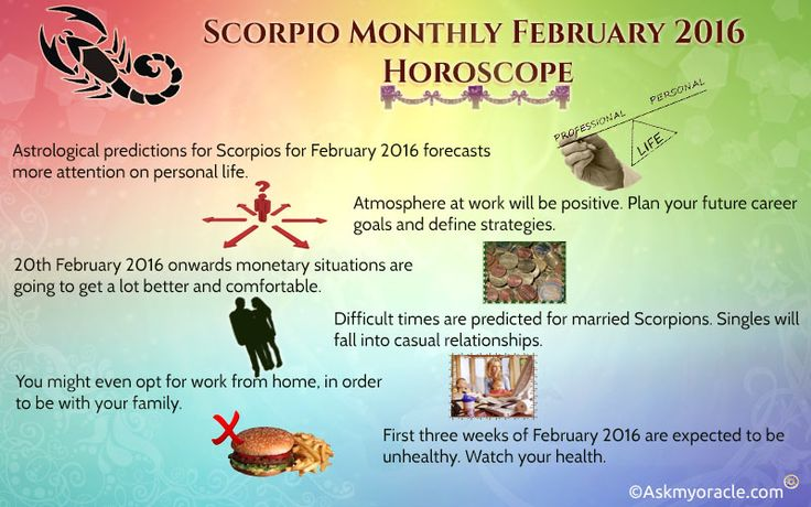 Free monthly horoscope for Scorpio sun sing for February 2016 overview and astrological prediction for this month in a form of horoscope.