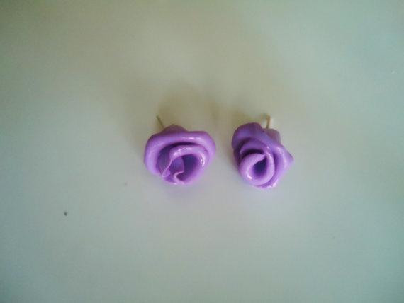 polymer clay Purple Roses earrings by pela1 on Etsy, $8.90: Rose Earrings, Polymer Clay, Purple Roses