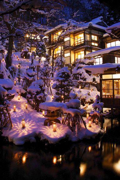 福島県 雪見灯り Candles in the Snow, Fukushima, Japan 雪見ろうそく きれ〜(´ω`* )