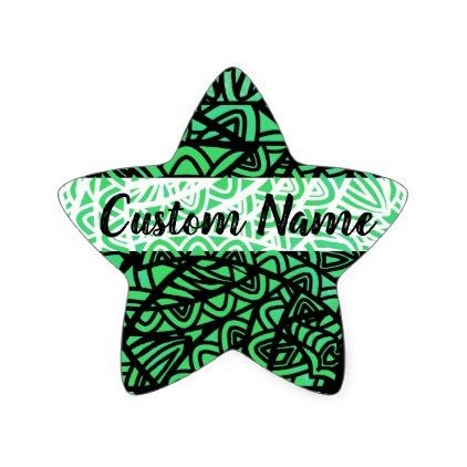 Watercolor Stained Glass Abstract Pattern Custom Star Sticker - pattern sample design template diy cyo customize