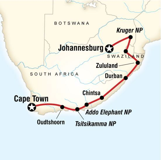 South Africa & Swazi Quest: from Johannesburg to Cape Town. Spot the Big Five in game parks and reserves, visit local villages and cosmopolitan Cape Town, search for resident wildlife in Kruger National Park, take in southern Africa's dramatic scenery, experience local dancing.