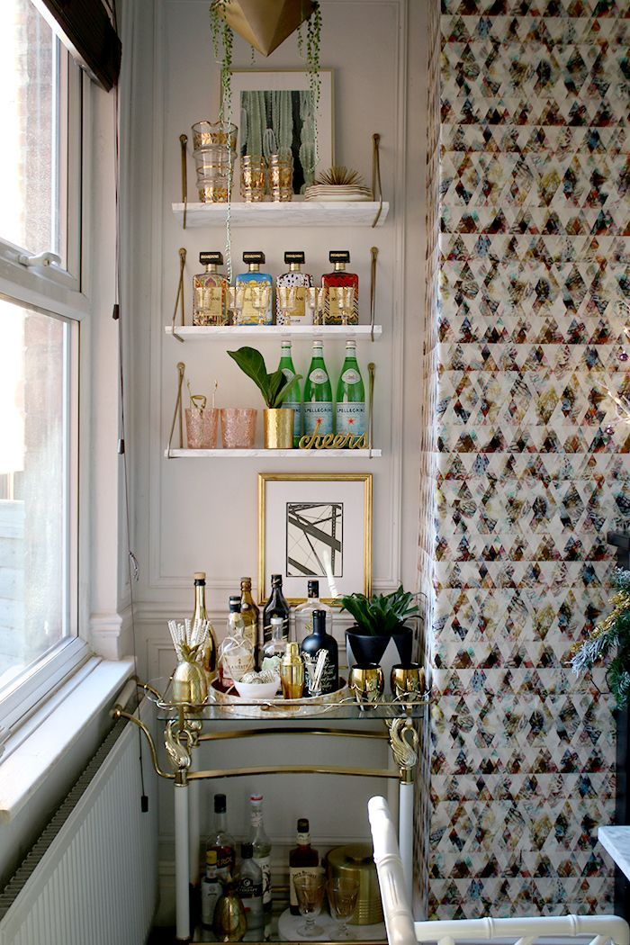 Bar Cart Styling With Hanging Shelves