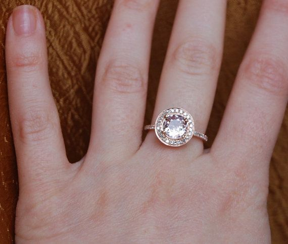 Rose gold engagement ring. 1.3ct round Ice Peach by EidelPrecious