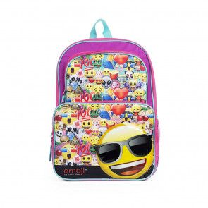 Emoji School Backpack for Kids - 16 Inches $39.99 www.mundyshops.com Ideal for Emoji lovers comes this adorable full-sized 16 inch cargo school backpack for kids. Features adjustable back straps, front and main compartments, and two side pockets. Made of canvas material.