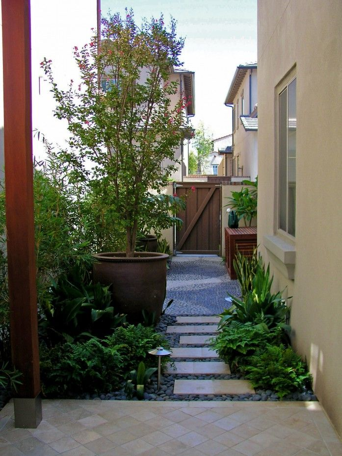 Modern contemporary style side yard with travertine and for Modern garden design ideas