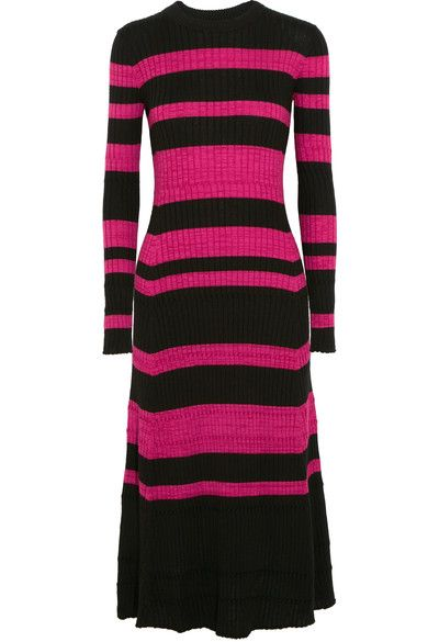 Proenza Schouler - Striped Ribbed Wool-blend Midi Dress - Black