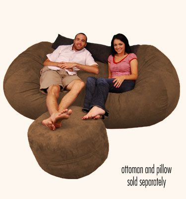 (comfy Sacks)Large Bean Bag Chair   7.5 Ft Lounger Micro Suede Chocolate