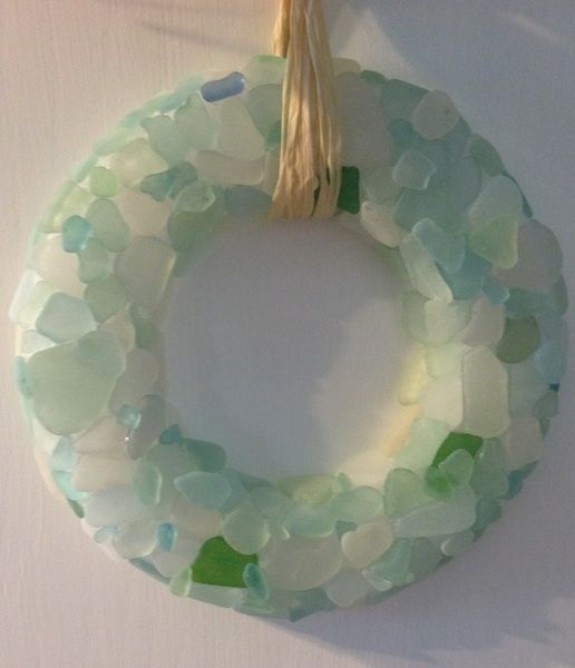How to Make a Sea Glass Wreath-Easy DIY with sea glass, styrofoam, and E-6000