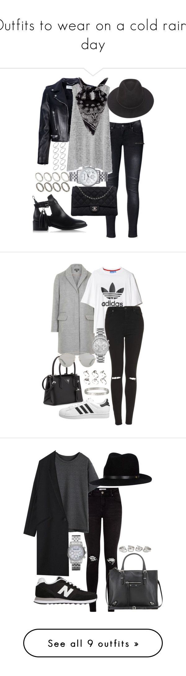 """""""Outfits to wear on a cold rainy day"""" by blendingtwostyles ❤ liked on Polyvore featuring Anine Bing, Yves Saint Laurent, Zara, Brixton, Chanel, KG Kurt Geiger, ASOS, Michael Kors, adidas Originals and Topshop"""