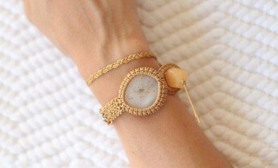 Nude double wrap pebble macramé bracelet silver and by ilepieces