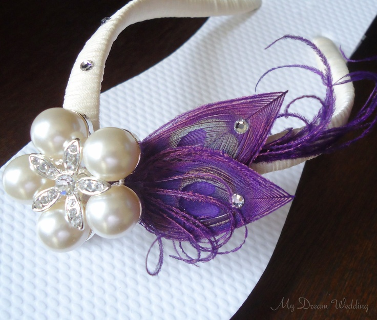 Purple Flip Flops. Peacock Feathers - Ivory wrapped flip flops with SWAROVSKI Crystals -StarFish Pearls Rhinestone -MUST HAVE Collection-. $44.99, via Etsy.