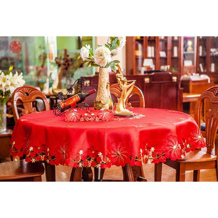 Europa Pano de mesa de luxo Toalhete bordado vermelho Rectangular Round Para casa Casamento Poliéster Cetim Jacquard Floral Cover