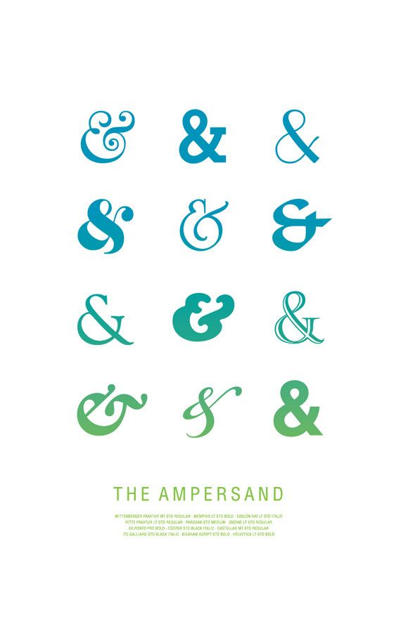 Ampersand poster in turquoise 11x17 typography by MilkBoxPrints, $20.00 Birthday gift for my Boo :)